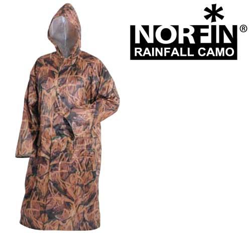 Плащ-дождевик Norfin Rainfall Camo (XXL, 617005-XXL)Плащи<br>Длинный плащ из прочного материала, который <br>прекрасно защитит от дождя и ветра. Все <br>швы тщательно проклеены во избежании попадания <br>влаги. Особенности: - наличие несъемного <br>утягивающегося капюшона; - два боковых кармана; <br>- сетчатая подкладка; - застегивается на <br>молнию.<br><br>Пол: унисекс<br>Размер: XXL<br>Сезон: все сезоны<br>Цвет: коричневый<br>Материал: текстиль