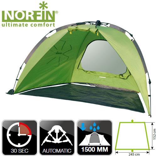 Палатка Автоматическая Рыболовная Norfin Палатки<br>Палатка автомат. рыболовная Norfin IDE NF карк.FG <br>/наруж.разм245х152х137см/внутр.размсм/вес3кг/тр.разм.88х12х12см <br>Однослойная палатка с полуавтоматическим <br>быстро сборным каркасом. Легкая и компактная, <br>послужит идеальным укрытием во время рыбалки <br>от дождя и солнца. В палатку можно поставить <br>рыболовный стул либо разложить раскладушку <br>и остаться на ночь. -один вход -все швы палатки <br>герметизированны при помощи термоусадочной <br>водонепроницаемой ленты -ветрозащитная <br>юбка -съемный пол в тамбуре Тип палатки: <br>автоматическая Материал наружной палатки/ <br>влагостойкость (мм H2O): 190T Polyester PU/1500 Материал <br>дна / влагостойкость (мм H2O)120g PE Материал <br>каркаса: FG Материал колышков: сталь Количество <br>дуг(стоек)/диаметр (мм): - / 8,5<br><br>Сезон: лето<br>Цвет: зеленый