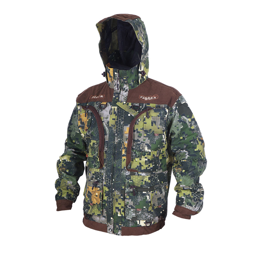 Куртка ХСН «Ровер-рыбак» (9791-21) (Лес-1, 50 - Куртки неутепленные<br>Идеально подойдет любителям рыбалки и <br>активного отдыха. Куртка изготовлена из <br>специального материала с содержанием хлопка, <br>который не шуршит при движении. Ткань обработана <br>водоотталкивающей тефлоновой пропиткой <br>для защиты от влаги. Особенности: - регулируемый <br>несъемный капюшон с противомоскитной сеткой; <br>- 10 шт. объемных карманов, в том числе под <br>рыболовные коробки; - особый крой рукавов, <br>обеспечивающий свободу движения; - манжеты <br>на пуговицах с возможностью регулировки <br>ширины; - специальная усиленная ткань на <br>плечах; - двойной джинсовый запошивочный <br>шов.<br><br>Пол: мужской<br>Размер: 50 - 52 / 176<br>Сезон: лето<br>Цвет: коричневый<br>Материал: Хлопкополиэфирная ткань