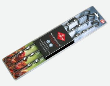 Набор шампуров FORESTER никель сталь (45см.)(6шт.) Шампуры<br>Набор малых и больших шампуров удобно взять <br>с собой на пикник, чтобы приготовить различные <br>продукты и на разных по величине мангалах. <br>Данные шампуры предназначены для приготовления <br>шашлыков из мяса, птицы, рыбы и овощей. Они <br>выдерживают даже большие куски — благодаря <br>наилучшему сочетанию гибкости и упругости. <br>Зеркальная поверхность не позволяет продуктам <br>прилипать к шампурам. А пищевая сталь со <br>специальным покрытием защищает шампуры <br>от коррозии и продлевает срок их службы. <br>Шампуры надежно фиксируются на мангале <br>благодаря удобным ручкам-винтам. А блистер <br>защищает при транспортировке остальной <br>багаж от повреждений шампурами. В наборе <br>6 шт., упаковка: блистер.<br>