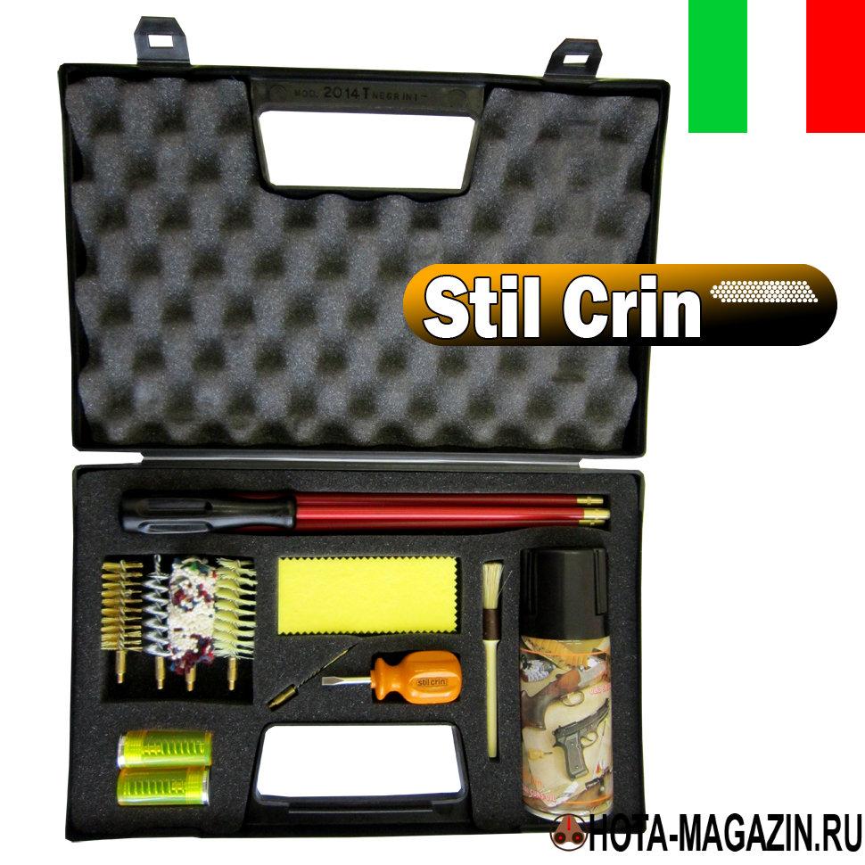 Набор для чистки оружия 12 калибра Stil Crin Наборы для чистки оружия<br>Оптимальный набор для чистки Stil Crin гладкоствольного <br>оружия 12 калибра в прочном подарочном кейсе. <br>Внутри пенал для содержимого и мягкая подкладка <br>для фиксации. Набор Stil Crin состоит из трех-секционного <br>шомпола из металла покрытого пластиком <br>(длина - 82 см.), ручка шомпола вращается, стального <br>вишера (длина - 7,5 см.), медного ершика (длина <br>- 6,5 см.), синтетического ершика (длина - 7 <br>см.), пуховки из ветоши (длина - 7,5 см), петли <br>для тампонов (длина - 6 см.), двух фальшпатронов <br>из пластика, кисточки для очистки внешних <br>частей оружия, 8 салфеток из плотной ветоши, <br>отвертки, флакона оружейного масла для <br>защиты от коррозии и смазки стволов (объем <br>- 125 мл).<br>