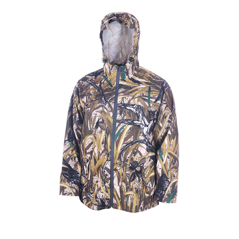Непромокаемый маскировочный костюм ХСН Костюмы неутепленные<br>Изготовлен из нешуршащей влагостойкой <br>синтетической ткани. Все швы проклеены. <br>В комплект входит куртка и брюки. Особенности: <br>- молнии - влагозащищенные; - вентилируемая <br>кокетка; - застегивается на молнию; - утягивающийся <br>капюшон.<br><br>Пол: мужской<br>Размер: 50 - 52 / 176<br>Сезон: лето<br>Цвет: камуфляжный<br>Материал: Oxford 250 (100% п.э.)