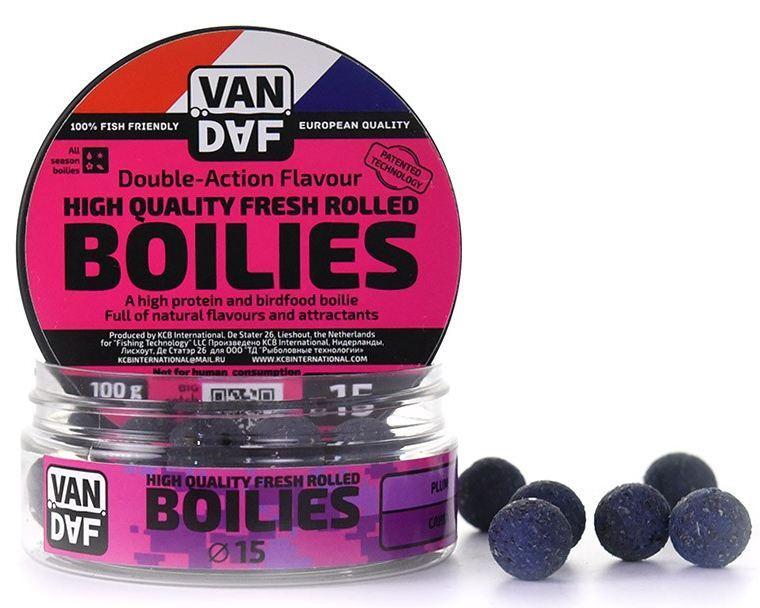 Бойлы VAN DAF Слива, 15мм, фиолетовый, 100г.Бойлы<br>Бойлы VAN DAF произведены в Нидерландах в <br>провинции Северный Брабант на современном <br>оборудовании по технологии D.A.F. (Double Action <br>Flavour). Этот способ производства на протяжении <br>многих лет подтверждает высочайшее качество <br>продукции и показывает отличные результаты <br>на рыболовных сессиях. В особенности данной <br>технологии заложена концепция дуализма, <br>суть которой - в уникальной сочетаемости <br>вкуса и аромата в каждом продукте. VAN DAF - <br>двойное воздействие на обонятельно-вкусовые <br>рецепторы каждого карпа. Бойлы VAN DAF - высокопротеиновый <br>продукт, изготовленный из высококачественных <br>ингредиентов с использованием казеината <br>кальция, яичного альбумина, рыбной муки, <br>специй, ореховых и бобовых добавок. Обязательным <br>является применение в рецептах N.H.D.C. подсластителя <br>и масляной кислоты (N-Butyric Acid) - веществами, <br>которые зарекомендовали себя, как наиболее <br>эффективные при ловле карпа. Бойлы VAN DAF <br>показывают высокие результаты на водоемах <br>любого типа и полностью адаптированы к <br>Российским условиям. Подходят как для прикармливания, <br>так и для насадки. Это всесезонный продукт, <br>рассчитанный на ловлю при любой температуре <br>воды на протяжении всего года. Аминокислоты, <br>легко усваиваемые протеины, фруктовые и <br>пряные эфиры, дрожжи и другие сильнодействующие <br>кормовые добавки позволили создать уникальные <br>вкусы и ароматы, стимулирующие рыбу кормиться <br>снова и снова. Размер 15 Цвет Фиолетовый <br>Сезон Всесезонные Вес 0.1 кг<br>