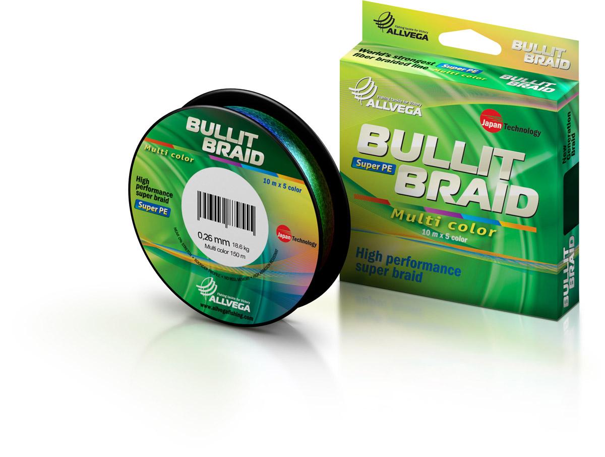 Леска плетеная ALLVEGA Bullit Braid Multi Color 150м 0,26мм Леска плетеная<br>Леска BULLIT BRAID разработана с учетом новейших <br>японских технологий в сфере строения волокон. <br>Благодаря микроволокнам полиэтилена (Super <br>PE) леска имеет очень плотное плетение, имеет <br>гладкую круглую поверхность и одинаковое <br>сечение по всей длине. В многоцветном варианте <br>(Multi Color) в размотке 150м., для спиннингистов <br>и любителей троллинга.<br>