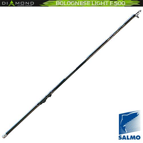 Удилище Поплавочное С Кольцами Salmo Diamond Удилища поплавочные<br>Удилище попл.с кол. Salmo Diamond BOLOGNESE LIGHT F 5.01 <br>дл.5.00м/тест 5-15г/строй F/290г/5cекц./дл.тр.130см <br>Легкое удилище средней мощности быстрого <br>строя, изготовлен ное из графита IM7. Удилище <br>укомплектовано облегченными кольцами с <br>высококачественными вставками SIC и надежным <br>катушкодержателем. Верхнее колено имеет <br>два дополнительных разгрузочных кольца. <br>• Материал бланка удилища – углеволокно <br>(IM7) • Строй бланка быстрый • Конструкция <br>телескопическая Кольца пропускные: – облегченные <br>– дополнительные разгрузочные – со вставками <br>SIC • Рукоятка с противоскользящим покрытием <br>• Катушкодержатель быстродействующего <br>типа CLIP UP<br><br>Сезон: лето