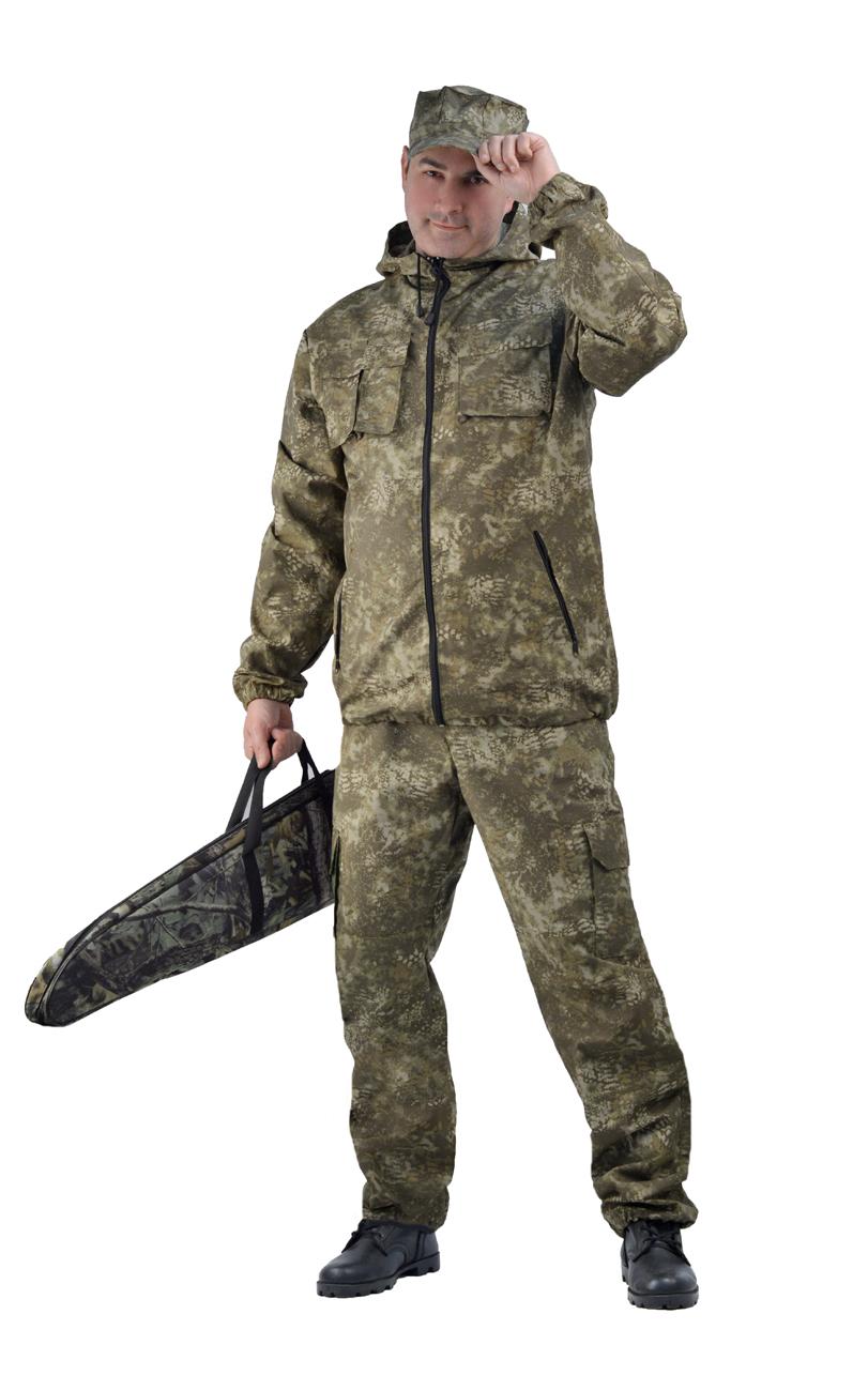 Костюм мужской Турист 2 летний кмф тк. Костюмы неутепленные<br>Камуфлированный унверсальный летний костюм <br>для охоты, рыбалки и активного отдыха . Состоит <br>из удлинённой куртки с капюшоном и брюк. <br>Куртка: • Регулируемый капюшон. • Центральная <br>застежка молния. • Нагрудные объемные накладные <br>карманы и боковые прорезные карманы на <br>молнии. • Манжеты на резинке. • Для большего <br>комфорта под проймой имеются вентеляционные <br>отверствия Брюки: •Гульфик брюк на молнии. <br>На поясе брюк вставки из эластичной ленты. <br>•Низ штанин регулируется эластичным шнуром. <br>•Удобные объёмные боковые карманы • Фукциональная <br>сумка для хранения костюма.<br><br>Пол: мужской<br>Сезон: лето<br>Материал: ОСЛО (23% хлопок, 77% полиэфир), пл. 170 гр. МОГОТЕКС
