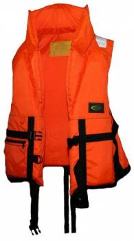 Жилет спасательный VOSTOK с подголовником Спасательные жилеты<br>пасательный жилет из ткани двух цветов <br>: оранжевый и камуфляж со светоотражающими <br>полосами (для легкого обнаружения в темноте). <br>Позволяет поддерживать человека на плаву <br>долгое время. Плавающий наполнитель НПЭ. <br>Особенности модели: - воротник стойка; - <br>накладной карман на замке; - свисток для <br>вызова спасателей в тумане и темное -боковые <br>стяжки и паховые ремни позволяют подогнать <br>жилет по фигуре; - хорошая плавучесть; - малый <br>вес. Жилет прошел испытания и имеет сертификат <br>Государственной инспекции по маломерным <br>судам. Ткань: Oksford 210 Цвет: оранжевый/камуфляж<br>