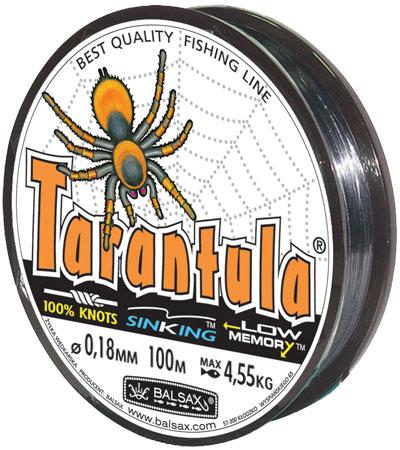 Леска BALSAX Tarantula 100м 0,18 (4,55кг)Леска монофильная<br>Леска Tarantula - эта леска как никакая другая <br>защищена от скручивания. В случае применения <br>этой лески растяжимость является отличным <br>достоинством и как амортизатор защищает <br>остнастку от обрыва.<br><br>Сезон: лето