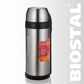 Термос Biostal Спорт NGP-1800P 1,8л (универсальный, Термосы<br>Легкий и прочный Сохраняет напитки и продукты <br>горячими или холодными долгое время Изготовлен <br>из высококачественной нержавеющей стали <br>Корпус покрыт защитным прозрачным лаком <br>Конструкция пробки позволяет использовать <br>термос как для напитков, так и для первых <br>и вторых блюд С удобной ручкой и ремешком <br>для переноски С крышкой-чашкой и дополнительной <br>пластиковой чашкой Характеристики: Объем: <br>1,8 литра Высота: 32,5 см Диаметр: 12,5 см Вес: <br>930 грамм Размеры упаковки: 12,5см x 12см x 33,5см<br>
