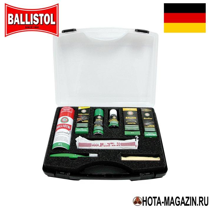 Набор средств для ухода за оружием Ballistol Средства для чистки оружия<br>Набор средств для ухода за оружием Ballistol <br>Set - состоит из 9 вещей. Ballistol (аэрозоль) - универсальное <br>многоцелевое масло. Предназначено для очистки <br>и защиты поверхностей металлов, кожи, натурального <br>дерева. Ухаживая за оружием, удаляет налет <br>свинца и меди со стволов и патронников огнестрельного <br>оружия, защищает деревянные части оружия, <br>очищает, пропитывает изделия из кожи, нейтрализует <br>и удаляет кислотные осадки от пороха. Растворяется <br>водой, не твердеет, не приобретает свойств <br>смолы. Ballistol Robla Solo (жидкость) - средство для <br>очистки каналов стволов оружия. Практичный <br>и простой в применении очиститель стволов <br>оружия Robla Solo обладает превосходной эффективностью. <br>Очищенные стволы улучшают показатели стрельбы <br>и продлевают срок эксплуатации. Очиститель <br>из специального состава на основе аммиака, <br>удаляющего остатки свинца, меди, томпака <br>и цинка. Абсолютно безвредно для стали, <br>хрома и никеля, которые используются для <br>изготовления оружия; Ballistol Robla Kaltentfetter (аэрозоль) <br>- средство для удаления смазки и обезжиривания <br>поверхности. Обезжиривающее средство на <br>100% очищает оружие и другие металлические <br>предметы, удаляет налипшие масла, жиры, <br>въевшуюся грязь. Идеально подходит для <br>обработки ствола перед воронением. После <br>применения поверхность высушить. В зависимости <br>от степени загрязнения возможна многократная <br>обработка. При крайне сильном загрязнении <br>сначала удалить крупную грязь куском ткани. <br>Очень практичен для чистки тормозов и тормозных <br>дисков; Ballistol Balsin Schaftol - масло для ухода и <br>реставрации деревянных частей: приклада, <br>цевья. Средство для обработки дерева Balsin <br>Schaftol придает элементам оружия из дерева <br>первоначальный лоск и красоту, защищая <br>от воздействия влаги. Подходит для любого <br>вида древесины. Защищает древесин