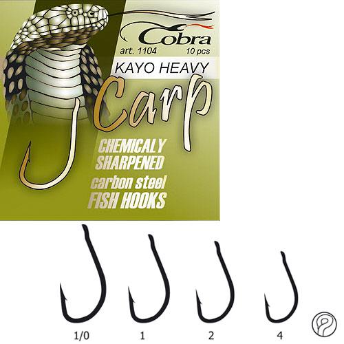 Крючки Cobra Carp Kayo Heavy Сер.1104Nsb Разм.001/0 10Шт.Одноподдевные<br>Крючки Cobra CARP KAYO HEAVY сер.1104NSB разм.001/0 10шт. <br>разм.1/0 /с колц./цв.NSB/кол.10шт Специальные <br>крючки, предназначенные для ловли на бойлы. <br>Высококачественная углеродистая легированная <br>сталь. Новейшие технологии термообработки <br>электрохимическая заточка жала крючка <br>лазерный контроль качества заточки стойкое <br>антикоррозийное покрытие изготовлены в <br>Корее Крючок острой формы с прямым цевьем <br>, прямым жалом и широким поддевом.<br><br>Сезон: Всесезонный