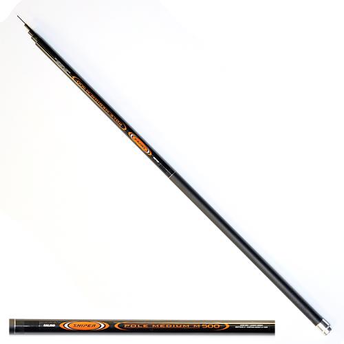 Удилище Поплавочное Без Колец Salmo Sniper Pole Удилища поплавочные<br>Удилище попл. без кол. Salmo Sniper POLE MEDIUM M 5.00 <br>дл.5.00м/тест 2-15г/строй М/350г/5секц./дл.тр.115см <br>Телескопическое удилище среднего строя <br>из композита. Диаметр хлыста под коннектор <br>1,90 мм. • Материал бланка удилища – композит <br>• Строй бланка средний • Конструкция телескопическая <br>• Рукоятка с противоскользящим покрытием<br><br>Сезон: лето