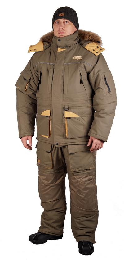 Комплект рыболовный зимний SIBERIA (куртка+брюки) Костюмы утепленные<br>Уже из названия видно, что этот костюм предназначен <br>для эксплуатации в условиях настоящих сибирских <br>морозов. Причем костюм не только теплый <br>но и внешне очень красивый и удобный . Множество <br>дополнительных утепленных карманов , натуральный <br>мех на капюшоне , высокие бока на полукомбинезоне <br>. Усиленная мембрана DE-PRO-TEX 10000/10000, помимо <br>отличных паропроницаемых свойств, усилит <br>способность костюма противостоять неблагоприятным <br>погодным условиям . Максимально возможное <br>количество хорошо зарекомендовавшего синтетического <br>утеплителя NORON позволит эксплуатировать <br>этот костюм при экстремально низких температурных <br>условиях -40-45С.<br><br>Пол: мужской<br>Размер: M<br>Сезон: зима<br>Цвет: оливковый
