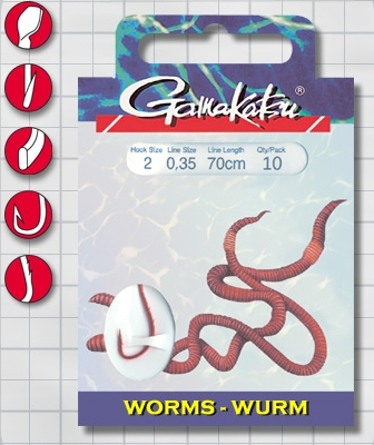 Крючок GAMAKATSU BKS-3120R Worm 70см №2 d поводка 035 Одноподдевные<br>Оснащенный поводок для ловли на навозного <br>червя, длинной 70 см и диаметром сечения <br>0,35<br>