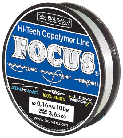 Леска BALSAX Focus 100м 0,16 (3,65кг)Леска монофильная<br>Леска Focus практически идеально прозрачна, <br>а значит, отлично подходит для ловли во <br>всех водоемах, независимо от погодных условий. <br>Очередной особенностью, повышающей достоинства <br>Focus, является ее стопроцентная сопротивляемость <br>к деформации, что дает рыболовам уверенность <br>в эффективных забросах, а также позволяет <br>избежать безнадежного запутывания лески. <br>Тесты на эластичность и упругость лески <br>доказали, что последняя, пропорционально <br>к другим особенностям, имеет необходимую <br>растяжимость.<br><br>Сезон: лето