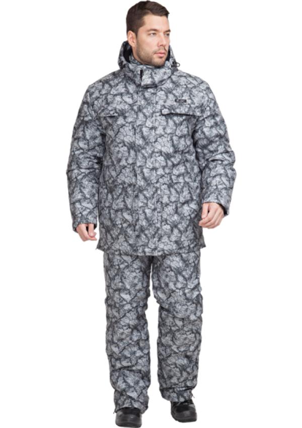 Костюм Sobol КОРГОН утеплённый, камни серые Костюмы утепленные<br>Костюм отлично подойдет для любителей <br>активного отдыха, рыбалки, охоты в зимний <br>период. В комплект входит куртка и комбинезон. <br>Защита от пониженных температур воздуха <br>до 40С. КУРТКА: - застегивается на молнию <br>с ветрозащитной планкой; - съемный капюшон; <br>- карманы с фигурными клапанами; - нижние <br>накладные карманы; - внутренний карман для <br>документов; - усиленные вставки на локтях; <br>- внизу боковых швов — разрезы, застегиваются <br>на тесьму-молнию - регулировка объема по <br>талии. ПОЛУКОМБИНЕЗОН: - застегивается на <br>молнию; - усиленные вставки в области коленей; <br>- нагрудный карман для телефона; - боковые <br>и задние карманы; - молнии внизу штанин.<br><br>Пол: мужской<br>Размер: 52-54<br>Рост: 170-176<br>Сезон: зима<br>Цвет: серый<br>Материал: LOKKER LINE, пл. 135 г/м?