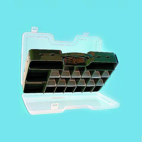 Коробка Рыболовная Двухсторонняя Double Sided Коробки, кейсы<br>Коробка рыболов.двухсторон. Salmo DOUBLE SIDED <br>290х200х61 двухстор. разм.290х200х60(мм) Большая <br>двусторонняя коробка с отсеками для хранения <br>рыболовных мелочей. Имеется ручка для переноски.<br><br>Сезон: Летний