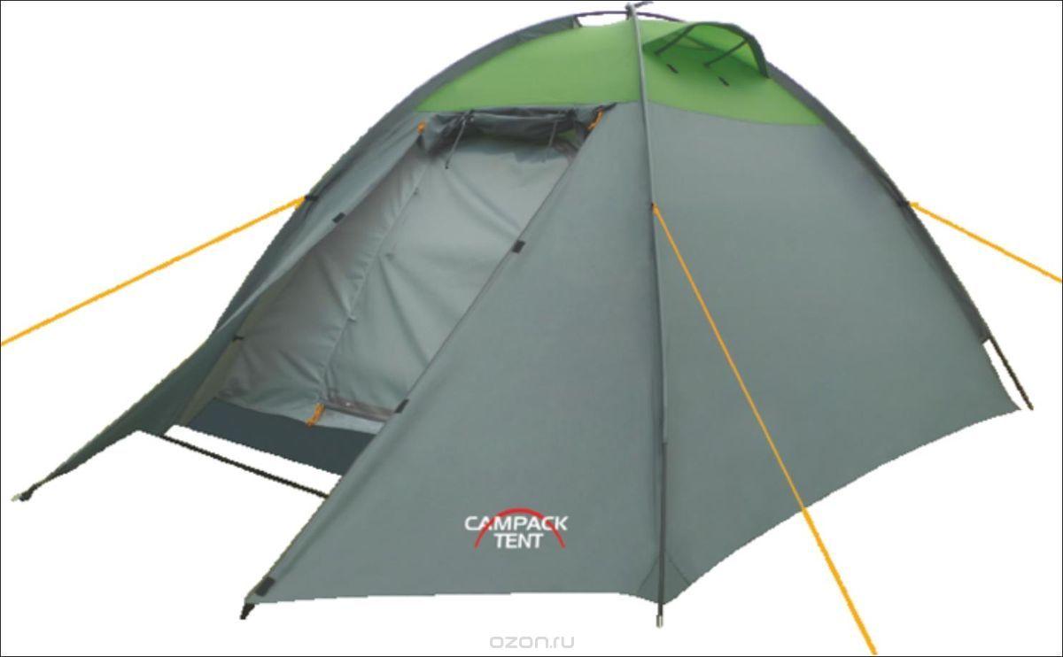 Палатка туристическая CAMPACK-TENT Rock Explorer 3Палатки<br>Универсальная купольная палатка с внешним <br>каркасом для несложных походов и семейного <br>отдыха на природе. Высокопрочное дно изготовлено <br>из армированного полиэтилена, не пропускает <br>влагу и устойчиво к истиранию. Каркас, изготовленный <br>из фибергласса, обеспечивает надежность <br>и устойчивость. Палатка оснащена увеличенными <br>вентиляционными окнами, клапаном от косого <br>дождя и двухслойной дверью с цветными молниями. <br>Внешний каркас позволяет быстро установить <br>палатку в сложных погодных условиях. Внутри <br>палатки имеется подвеска для фонаря и карманы <br>для хранения мелочей. Проклеенные швы гарантируют <br>герметичность и надежность в любой ситуации. <br>Ткань тента:190T P. Taffeta PU 3000MM Ткань палатки:170T <br>P. Taffeta + MESH Ткань дна:Tarpauling Вес: 3,5 кг Дуги: <br>8,5 мм Ремнабор: Самоклеющиеся заплатки 100 <br>х 100 мм из ткани 190T P. Taffeta PU 3000MM<br>