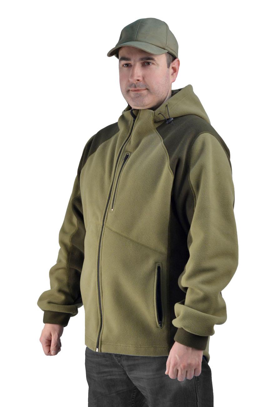 Флисовая мужская куртка Gerkon King цвет Хаки Куртки флисовые<br>Модельные особенности: – прорезные карманы <br>на молнии – регулировка объема по капюшону <br>и низу куртки. - внутренний карман<br><br>Пол: мужской<br>Сезон: все сезоны<br>Материал: Флис (100% полиэфир), пл. 450 г/м2