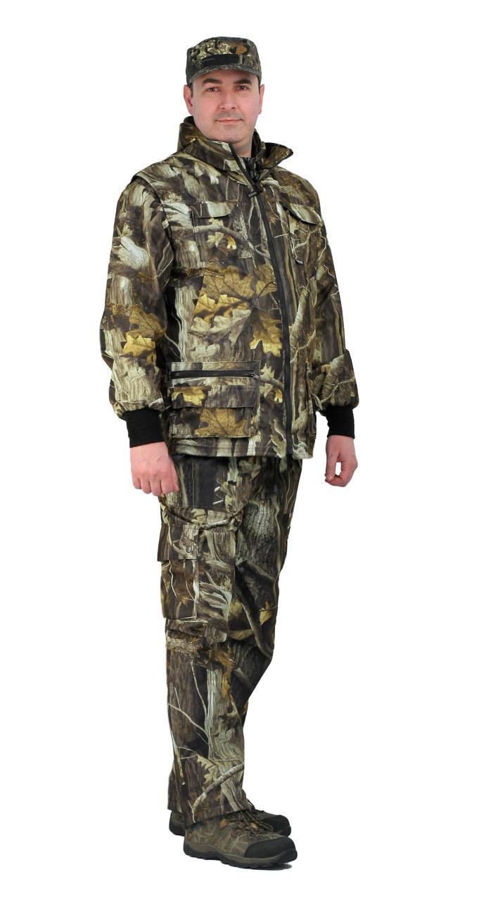 Костюм мужской Тройка демисезонный кмф Костюмы утепленные<br>Костюм состоит из куртки, брюк и жилета <br>Жилет утепленный: * воротник стойка * центральная <br>застежка на молнию * нагрудные объемные <br>накладные карманы с застежкой липучку * <br>нижние многофункциональные накладные объемные <br>карманы на молнии и липучке * внутренний <br>карман для документов Куртка с капюшоном <br>на подкладке из сетки: * центральная застежка <br>молнию * притачной капюшон с регулировкой <br>объема по лицевому вырезу * низ куртки регулируется <br>по объему эластичным шнуром * рукава с трикотажными <br>манжетами * нагрудные накладные объемные <br>карманы с клапанами на липучке * нижние <br>прорезные карманы с листочкой Брюки на <br>подкладке из сетки: * пояс с эластичной лентой <br>со шлевками под широкий ремень * защипы <br>в области коленей обеспечивают свободу <br>движения * боковые накладные объемные карманы <br>с клапанами на кнопках<br><br>Пол: мужской<br>Размер: 44-46<br>Рост: 182-188<br>Сезон: демисезонный<br>Цвет: серый<br>Материал: Алова 100% полиэстер