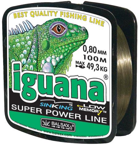 Леска BALSAX Iguana 100м 0,80 (49,3кг.)Леска монофильная<br>Леска Iguana - сочетает в себе мощность с <br>чувствительностью в приложении к любым <br>условиям рыбалки и полностью отвечающая <br>самым серьезным требованиям рыболовов.<br><br>Сезон: лето