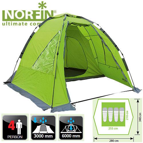 Палатка Автоматическая 4-Х Местная Norfin Палатки<br>Палатка автомат. 4-х мест. Norfin ZANDER 4 NF карк.FG./наруж.разм340x280x185см/внутр.разм <br>255х210х170/вес8кг/тр.разм.105х22х22см 4-х местная <br>кемпинговая палатка с полуавтоматическим <br>быстро сборным каркасом. Просторный высокий <br>тамбур, где можно встать в полный рост, просторная <br>спальня. Если отстегнуть спальню, то можно <br>сделать столовую для всей компании. -двухслойная <br>кемпинговая палатка с одним входом -легко <br>устанавливается одним человеком -увеличенный <br>тамбур для комфортного размещения поклажи <br>-вход во внутреннюю палатку продублирован <br>антимоскитной сеткой -съемный пол в тамбуре <br>-кармашки для мелочей -наличие ветрозащитной <br>юбки -все швы палатки герметизированы при <br>помощи термоусадочной водонепроницаемой <br>ленты -прозрачные окна в тамбуре Тип палатки: <br>кемпинговая автоматическая Количество <br>мест: 4 Материал наружной палатки/влагостойкость: <br>190Т Polyester PU/3000mm Материал внутренней палатки: <br>190T Polyester дышащий Материал дна/ влагостойкость: <br>150D Polyester Oxford PU/6000mm Материал каркаса: FG Материал <br>колы<br><br>Сезон: лето<br>Цвет: зеленый