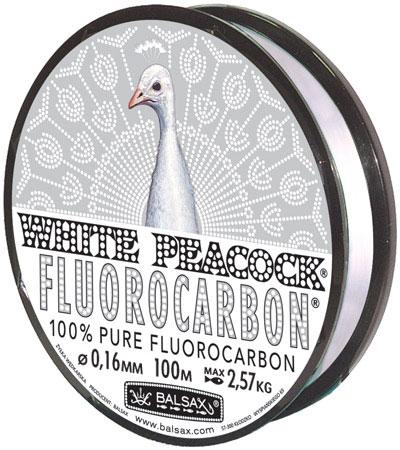 Леска BALSAX White Peacock Fluorocarbon 100м 0,16 (2,57кг)Леска монофильная флюорокарбоновая<br>Леска White Peacock Fluorocarbon - абсолютна невидима <br>в воде, тонет очень быстро, не теряет прочности, <br>высокая сопротивляемость.<br><br>Сезон: лето
