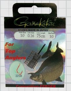 Крючок GAMAKATSU BKS-2210R Breamfeeder 75см cmp №12 d поводка Одноподдевные<br>Оснащенный поводок для ловли леща на фидер <br>в условиях соревнований, длинной 75 см и <br>диаметром сечения 0,16<br>