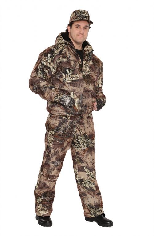 Костюм мужской Вихрь демисезонный кмф Костюмы неутепленные<br>Камуфлированный универсальный демисезонный <br>костюм для охоты, рыбалки и активного отдыха. <br>Состоит из укороченной куртки с капюшоном <br>и полукомбинезона. Куртка: • Регулируемый <br>капюшон - воротник на флисе. • Центральная <br>застежка молния закрыта ветрозащитной <br>планкой на кнопках. • Нижние прорезные <br>карманы на молнию, нагрудные накладные <br>карманы с клапаном на кнопке и накладной <br>карман с клапаном на кнопке на рукаве. • <br>Низ куртки и манжеты на широкой резинке. <br>Полукомбинезон • Высокая спинка и полочка <br>• Застежка центральная на молнию.. • Два <br>верхних прорезных кармана и один накладной <br>боковой с клапаном на кнопке • Талия регулируется <br>резинкой. • Низ брюк регулируется шнуром <br>с фиксатором.<br><br>Пол: мужской<br>Размер: 52-54<br>Рост: 182-188<br>Сезон: демисезонный<br>Цвет: коричневый