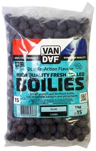 Бойлы VAN DAF Слива, 15мм, фиолетовый, 1кг.Бойлы<br>Бойлы VAN DAF произведены в Нидерландах в <br>провинции Северный Брабант на современном <br>оборудовании по технологии D.A.F. (Double Action <br>Flavour). Этот способ производства на протяжении <br>многих лет подтверждает высочайшее качество <br>продукции и показывает отличные результаты <br>на рыболовных сессиях. В особенности данной <br>технологии заложена концепция дуализма, <br>суть которой - в уникальной сочетаемости <br>вкуса и аромата в каждом продукте. VAN DAF - <br>двойное воздействие на обонятельно-вкусовые <br>рецепторы каждого карпа. Бойлы VAN DAF - высокопротеиновый <br>продукт, изготовленный из высококачественных <br>ингредиентов с использованием казеината <br>кальция, яичного альбумина, рыбной муки, <br>специй, ореховых и бобовых добавок. Обязательным <br>является применение в рецептах N.H.D.C. подсластителя <br>и масляной кислоты (N-Butyric Acid) - веществами, <br>которые зарекомендовали себя, как наиболее <br>эффективные при ловле карпа. Бойлы VAN DAF <br>показывают высокие результаты на водоемах <br>любого типа и полностью адаптированы к <br>Российским условиям. Подходят как для прикармливания, <br>так и для насадки. Это всесезонный продукт, <br>рассчитанный на ловлю при любой температуре <br>воды на протяжении всего года. Аминокислоты, <br>легко усваиваемые протеины, фруктовые и <br>пряные эфиры, дрожжи и другие сильнодействующие <br>кормовые добавки позволили создать уникальные <br>вкусы и ароматы, стимулирующие рыбу кормиться <br>снова и снова. Размер 15 Цвет Фиолетовый <br>Сезон Лето Вес 1 кг<br>