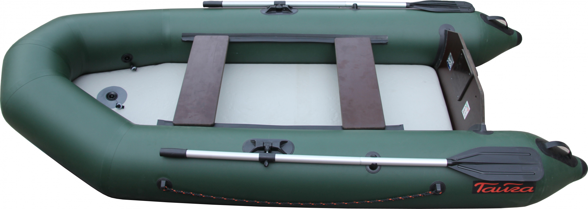 Лодка ПВХ Тайга-290 НД Airdeck (С-Пб)Моторные или под мотор<br>Лодка ТАЙГА-290 Airdeck – надувная моторная <br>лодка, совмещающая в себе возможности гребных <br>и моторных. У такой лодки имеется жестко <br>вклеенный (стационарный) транец из морской <br>фанеры, толщиной 18 мм.. Лодка легко выходит <br>в глиссирующее положение с моторами малой <br>мощности 4-5 л. Отличительная особенность <br>– сплошной надувной пол высокого давления <br>(Airdeck). Дно выполнено из ламинированного <br>текстиля с использованием армировки из <br>нитей. Благодаря такой конструкции надувная <br>лодка становится легче (примерно на 7 кг), <br>а значит, её легче транспортировать, что <br>является несомненным плюсом. Быстрая и <br>простая сборка, и разборка лодок , надувное <br>дно можно извлечь из лодки в любой момент. <br>Надувное дно лодки универсально, его можно <br>использовать как ложе в палатке, или в качестве <br>надувного матраса для купания. А в том случае, <br>если один из баллонов начал пропускать <br>воздух, airdeck оставит дно ровным. Конструкция <br>дна получается довольно жёсткой и прочной, <br>что позволяет без опасений встать на дно <br>лодки. Специальная помпа с двумя камерами <br>входит в комплект. Для накачки баллона лодки <br>- давление 0,2 атм, для накачки надувного <br>дна высокого давления (Airdeck) - давление 0,8 <br>атм. - Лодка «ТАЙГА» состоит из одного замкнутого <br>баллона, разделенного перегородками на <br>2 отсека, что позволит лодке остаться на <br>плаву даже при случайном проколе баллона. <br>- Корпус лодки «ТАЙГА» изготавливается <br>из 5-ти слойной ткани ПВХ корейского производства <br>MIRASOL, являющейся одной из лучших на рынке. <br>Используется ткань плотностью 750 г/м.кв. <br>Реальный срок службы лодки из ПВХ составляет <br>больше 15 лет. Лодки из ПВХ не требуют специальной <br>обработки после использования и на период <br>хранения. - швы лодки соединены современным <br>методом «горячей сварки». Ткань соединяется <br>встык, с проклейкой с двух сторон л