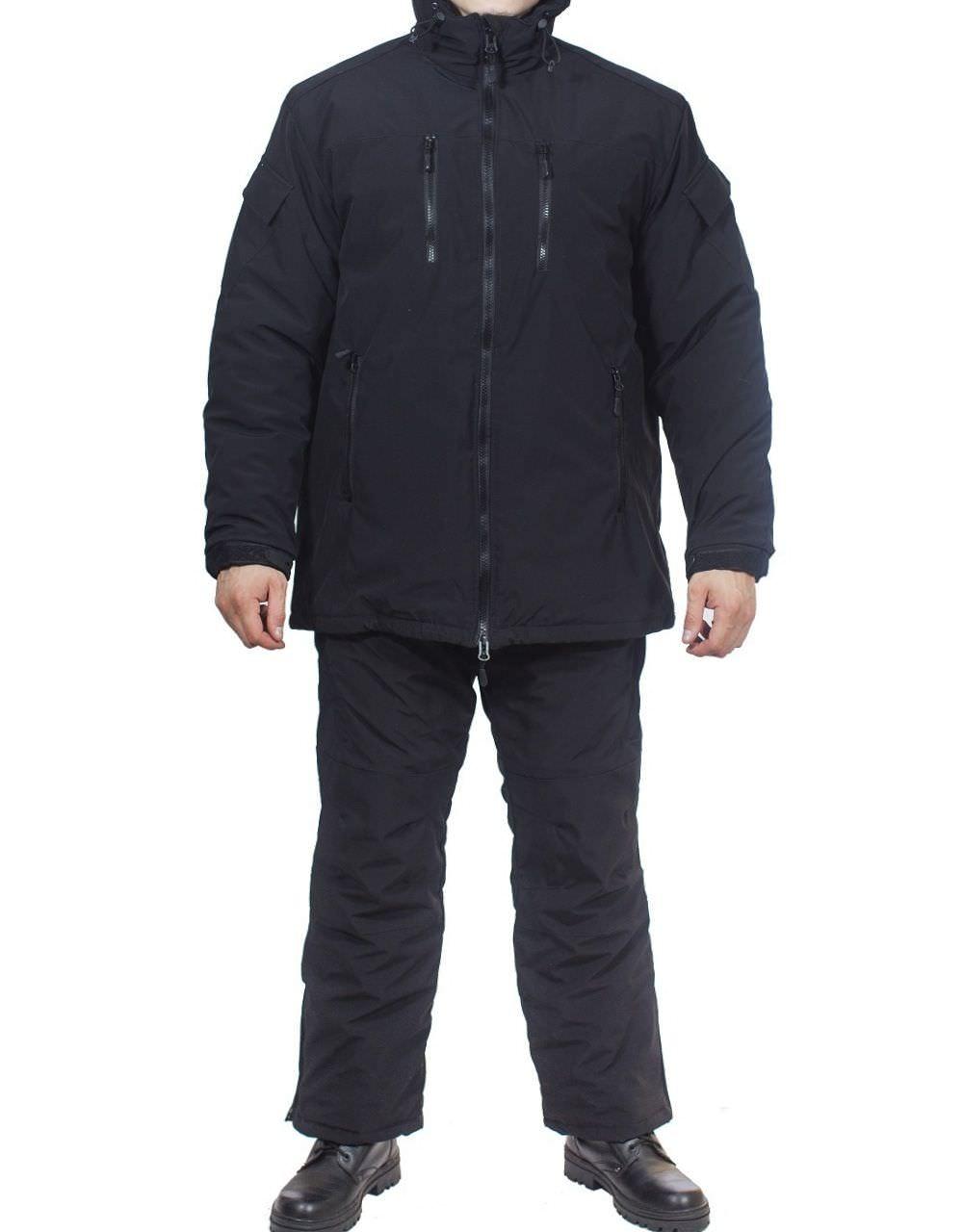 Костюм зимний МПА-38-01 (мембрана, черный), Костюмы утепленные<br>Костюм состоит из брюк с плечевой разгрузочной <br>системой, а также куртки со съемным капюшоном <br>и утепляющей подкладкой. Разработан для <br>подразделений воооруженных сил, действующих <br>в условиях экстремального холода (до -50 <br>градусов Цельсия). ХАРАКТЕРИСТИКИ ЗАЩИТА <br>ОТ ХОЛОДА ДЛЯ ИНТЕНСИВНЫХ НАГРУЗОК ДЛЯ <br>АКТИВНОГО ОТДЫХА ТОЛЬКО РУЧНАЯ СТИРКА МАТЕРИАЛЫ <br>МЕМБРАНА УТЕПЛИТЕЛЬ ФАЙБЕРСОФТ<br><br>Пол: мужской<br>Размер: 44<br>Рост: 164<br>Сезон: зима<br>Цвет: черный<br>Материал: мембрана