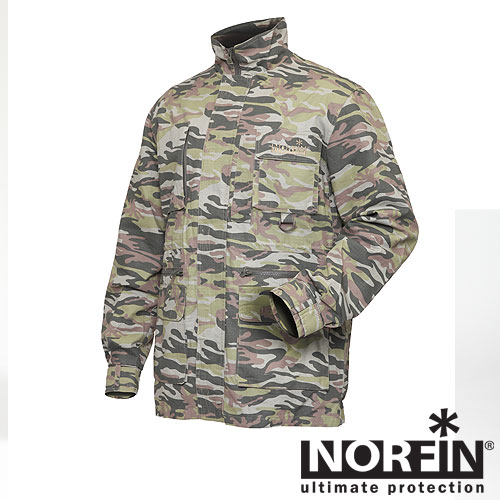 Куртка Norfin Nature Pro Camo (L, 644003-L)Куртки неутепленные<br>Куртка сшита из прочного, натурального <br>материала, который очень комфортен для <br>тела. Отличается свободным кроем, легкостью, <br>удобством в носке. Хорошо подойдет для рыбалки <br>и охоты в летний период. Особенности: - натуральный <br>материал; - подкладка из сетки; - регулируемые <br>манжеты на липучке; - 6 карманов; - регулируемый <br>капюшон; - застегивается на молнию с ветрозащитной <br>планкой; - высокий воротник; - D-кольцо для <br>крепления снаряжения или инструмента; - <br>фиксатор, стягивающий низ талии.<br><br>Пол: мужской<br>Размер: L<br>Сезон: лето<br>Цвет: оливковый<br>Материал: текстиль