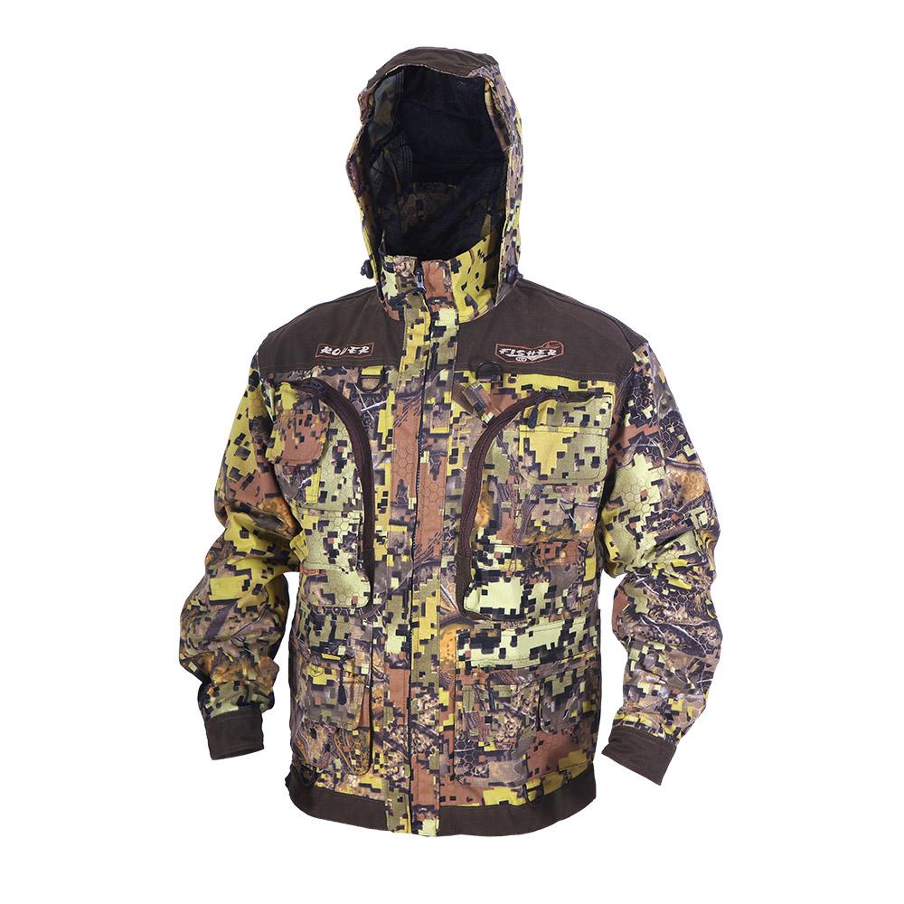 Куртка ХСН «Ровер-рыбак» (9791-11) (Дубок-1, Куртки неутепленные<br>Идеально подойдет любителям рыбалки и <br>активного отдыха. Куртка изготовлена из <br>специального материала с содержанием хлопка, <br>который не шуршит при движении. Ткань обработана <br>водоотталкивающей тефлоновой пропиткой <br>для защиты от влаги. Особенности: - регулируемый <br>несъемный капюшон с противомоскитной сеткой; <br>- 10 шт. объемных карманов, в том числе под <br>рыболовные коробки; - особый крой рукавов, <br>обеспечивающий свободу движения; - манжеты <br>на пуговицах с возможностью регулировки <br>ширины; - специальная усиленная ткань на <br>плечах; - двойной джинсовый запошивочный <br>шов.<br><br>Пол: мужской<br>Размер: 50 - 52 / 182<br>Сезон: лето<br>Цвет: коричневый<br>Материал: Хлопкополиэфирная ткань