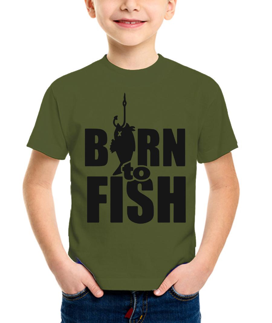 Футболка детская Born to fish цв.хаки (122-128)Футболки к/рукав<br>Футболка детская из 100% хлопкового полотна <br>плотностью 180гр/кв.м.<br><br>Пол: мужской<br>Рост: 122-128<br>Сезон: лето