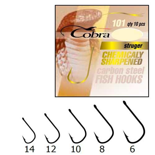 Крючки Cobra Struger Сер.101Nsb Разм.006 10Шт.Одноподдевные<br>Крючки Cobra STRUGER сер.101NSB разм.006 10шт. разм.6 <br>/с колц./цв.NSB/кол.10шт Крючки повышенной зацепистости <br>с длинным цевьём и чуть расширенным загибом, <br>применяются при ловле средней и мелкой <br>рыбы на живые и растительные насадки.Цвет: <br>NSB.<br><br>Сезон: Всесезонный