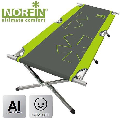 Кровать Складная Norfin Aspern Comfort NfРаскладушки<br>Кровать обладает большими размерами в <br>разложенном виде и устойчива к большим <br>нагрузкам. Очень компактна в сложенном <br>виде. Особенности: - габариты 210x80x48 см; - размер <br>в сложенном виде 108x10x18 см; - максимальная <br>нагрузка 140 кг; - каркас алюминий.<br><br>Сезон: лето<br>Цвет: зеленый<br>Материал: 600D polyester, PVC