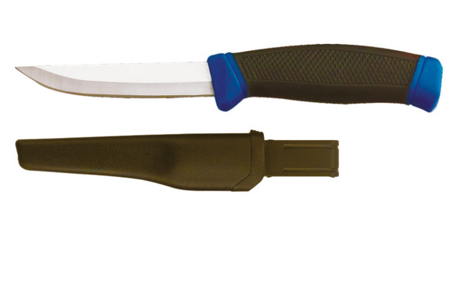 Нож CC-N200/206 (нерж. ручка эластомер)Ножи<br>Нож CC-N200/206 (нерж. ручка эластомер)<br>Простой и надежный туристический нож из <br>нержавеющей стали и нескользящей прорезиненной <br>рукояткой. Пригодится и на рыбалке и в походе. <br>Пластиковый чехол с креплением на ремень.<br>Рукоятка ножа имеет очень прочную и удобную <br>конструкцию. Лезвие выполнено из нержавеющей <br>стали, оно не подвержено коррозии, не ржавеет, <br>легко точится и хорошо держит заточку. Пластиковые <br>ножны обеспечивают безопасное ношение <br>и одновременную защиту клинка от механических <br>повреждений.<br>Общие характеристики<br>- материал нержавеющая сталь, марка стали <br>420<br>- пластиковый чехол<br>- размер упаковки 260x50x50 мм<br>