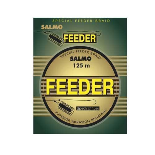 """Леска Плетеная Salmo Feeder 125/014Леска плетеная<br>Леска плет. Salmo FEEDER 125/014 дл.125м/диам. 0.14мм/тест <br>7.20кг/инд. уп. Плетёная леска SALMO FEEDER разработана <br>для ловли на фидер. Она изготовлена из волокна <br>SPECTRA (USA), имеет круглое сечение и отлично <br>скользит сквозь кольца, позволяя добиться <br>выигрыша в несколько дополнительных метров, <br>чтобы доставить приманку точно в то место, <br>где кормится рыба. Благодаря специальной <br>пропитке, она намного быстрее тонет, чем <br>обычные плетеные лески, сводя к минимуму <br>смещение оснастки и позволяя максимально <br>быстро начать контролировать приманку. <br>Коричневая расцветка делает ее максимально <br>незаметной для осторожной рыбы. Плетёная <br>леска SALMO FEEDER имеет высокую износостойкость <br>и прослужит не один сезон. • круглое сечение <br>• """"скользкая"""" поверхность • высокая прочность <br>• специальная пропитка • увеличенная чувствительность <br>• высокая износостойкость • камуфлирующая <br>расцветка<br><br>Цвет: камуфляжный"""