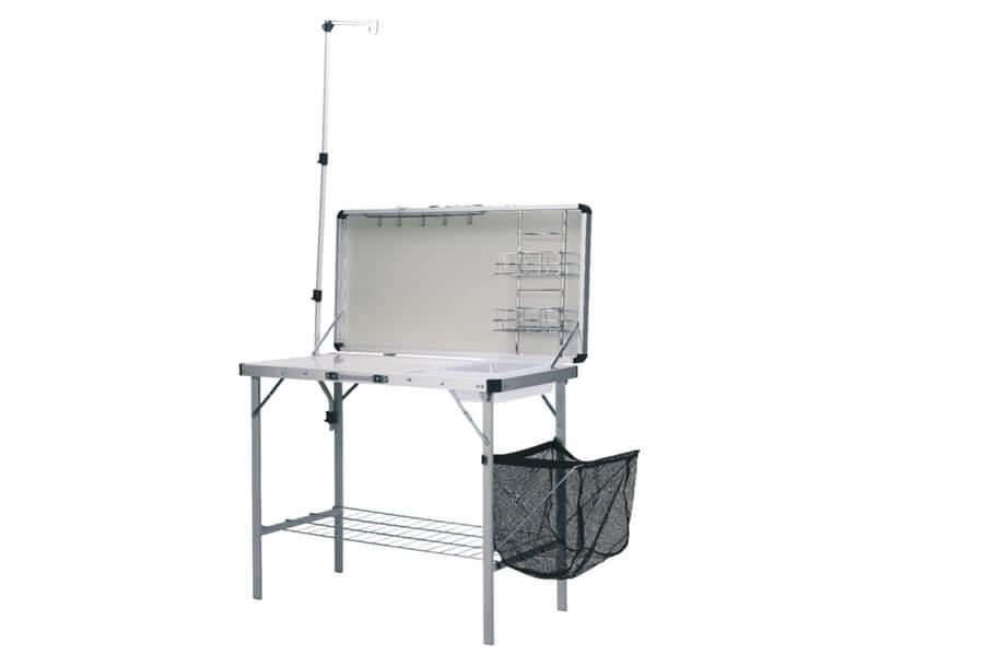 CC-TA1000 Стол с раковиной Canadian CamperСтолы<br>CC-TA1000 Стол с раковиной<br>Кемпинговый стол с раковиной. Походный <br>умывальник выполненный для вашего комфорта. <br>Обеспечивает прекрасную устойчивость и <br>контроль за ресурсами кемпинга.<br>Это универсальное устройство - миникухня <br>с двумя рабочими поверхностями<br>Обеденный стол - или разделочный стол с <br>минимойкой, полками для посуды и рейлингом <br>с крючками для подвески столовых приборов.<br>Дополнительная книжная полка, емкость <br>для сбора мусора, стойка для крепления лампы.<br>Особенности<br>вес - 12,3 кг <br>размер в установленном состоянии - 100х50х77/193 <br>см <br>размер в собранном виде - 105,5х14х55 см<br>