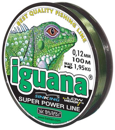 Леска BALSAX Iguana 100м 0,12 (1,95кг.)Леска монофильная<br>Леска Iguana - сочетает в себе мощность с <br>чувствительностью в приложении к любым <br>условиям рыбалки и полностью отвечающая <br>самым серьезным требованиям рыболовов.<br><br>Сезон: лето