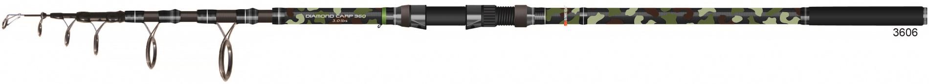 Удилище карповое тел. SWD Diamond Carp 3,6м 3,0 lbs Удилища карповые<br>Мощное карповое телескопическое удилище. <br>Длина 3,6м. Материал изготовления бланка <br>удилища – карбон IM7. Комплектуется мощними <br>кольцами SIC и разнесенной рукоятью из EVA. <br>Обладает классическим параболическим строем, <br>позволяющим делать дальние забросы тяжелых <br>оснасток. Предназначено для ловли карпа <br>и другой крупной рыбы с использованием <br>тяжелых оснасток.<br>