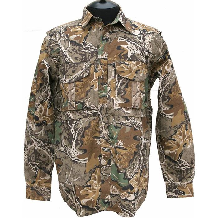 Рубашка ХСН рыбака-охотника (965-5) (Сафари, Подойдет для ношения летом. На рубашке <br>имеются накладные карманы. Для защиты от <br>влаги материал обработан водоотталкивающей <br>пропиткой. Комфортная температура эксплуатации <br>от +20°С до +30°С.<br><br>Пол: мужской<br>Размер: 58/170-176<br>Сезон: лето<br>Цвет: камуфляжный<br>Материал: 100% хлопок