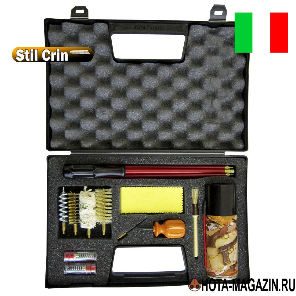 Набор для чистки оружия 16 калибра Stil Crin Наборы для чистки оружия<br>Оптимальный набор для чистки Stil Crin гладкоствольного <br>оружия 16 калибра в прочном подарочном кейсе. <br>Внутри пенал для содержимого и мягкая подкладка <br>для фиксации. Набор Stil Crin состоит из трех-секционного <br>шомпола из металла покрытого пластиком <br>(длина - 82 см.), ручка шомпола вращается, стального <br>вишера (длина - 7,5 см.), медного ершика (длина <br>- 6,5 см.), синтетического ершика (длина - 7 <br>см.), пуховки из ветоши (длина - 7,5 см), петли <br>для тампонов (длина - 6 см.), двух фальшпатронов <br>из пластика, кисточки для очистки внешних <br>частей оружия, 8 салфеток из плотной ветоши, <br>отвертки, флакона оружейного масла для <br>защиты от коррозии и смазки стволов (объем <br>- 125 мл).<br>