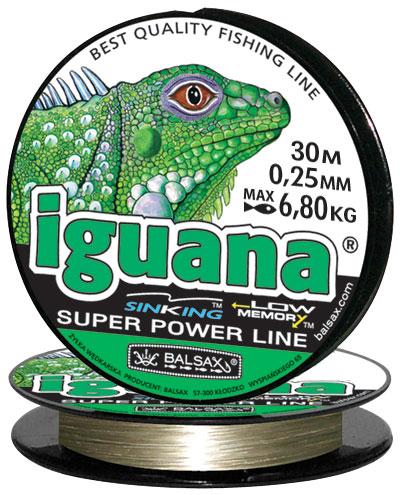 Леска BALSAX Iguana 30м 0,25 (6,8кг)Леска монофильная<br>Леска Iguana - сочетает в себе мощность с <br>чувствительностью в приложении к любым <br>условиям рыбалки и полностью отвечающая <br>самым серьезным требованиям рыболовов. <br>Даже в самом холодном климате, при температуре <br>до -40, она сохраняет свои свойства.<br><br>Сезон: зима