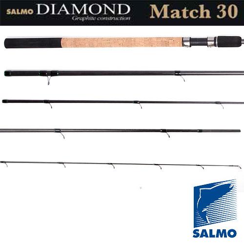 Удилище Матчевое Salmo Diamond Match 5-30 3.90Удилища матчевые<br>Удилище матч. Salmo Diamond MATCH 5-30 3.90 дл.3.90м/тест <br>5-30г/240г Классическое трехколенное удилище <br>для матчевой ловли со стыком колен по типу <br>OVER STEEK. Бланк среднего строя, изготовлен <br>из графита марки IM7 и укомплектован высокими <br>пропускными кольцами со вставками SIC. Комбинированная <br>рукоятка из пробки и неопрена имеет винтовой <br>катушкодержатель с нижней гайкой крепления <br>и резиновым буфером на торце. Материал бланка <br>удилища – углеволокно (IM7) Строй бланка <br>средний Конструкция штекерная Соединение <br>колен типа OVER STEEK Кольца пропускные: - на <br>высоких ножках - со вставками SIC Рукоятка <br>комбинированная Катушкодержатель винтового <br>типа<br><br>Сезон: лето