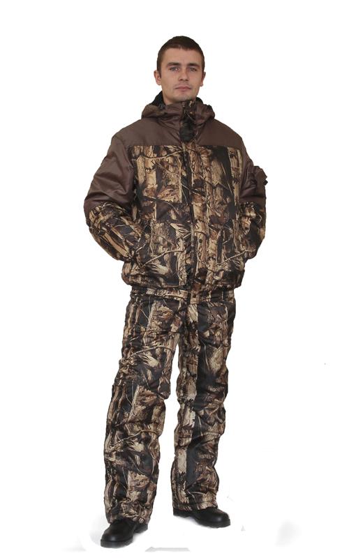 Костюм мужской Вихрь зимний кмф Ясеньс Костюмы утепленные<br>Камуфлированный универсальный костюм <br>для охоты, рыбалки и активного отдыха при <br>низких температурах. Состоит из укороченной <br>куртки с капюшоном и полукомбинезона. Куртка: <br>• Регулируемый втачной капюшон - воротник <br>на флисовой подкладке. • Центральная застежка <br>- молния закрыта ветрозащитной планкой <br>на кнопках. • Внутренняя планка, закрывающая <br>верхний край молнии. • Нижние накладные <br>карманы, нагрудный прорезной карман на <br>молнии. • На рукаве накладной, объемный <br>карман под мобильный телефон. • Низ куртки <br>и манжеты на широкой резинке. Полукомбинезон: <br>• С центральной застежкой на молнию и ветрозащитной <br>планкой. • Высокая грудка и спинка. • Два <br>передних , один задний накладных кармана <br>и один на груди с клапаном на кнопках. • <br>Мягкие регулируемые бретели с эластичной <br>лентой. • Низ полукомбинезона регулируется <br>молнией.<br><br>Пол: мужской<br>Размер: 52-54<br>Рост: 170-176<br>Сезон: зима<br>Цвет: коричневый<br>Материал: «Оксфорд» (100% полиэфир), пл. 110 г/м2