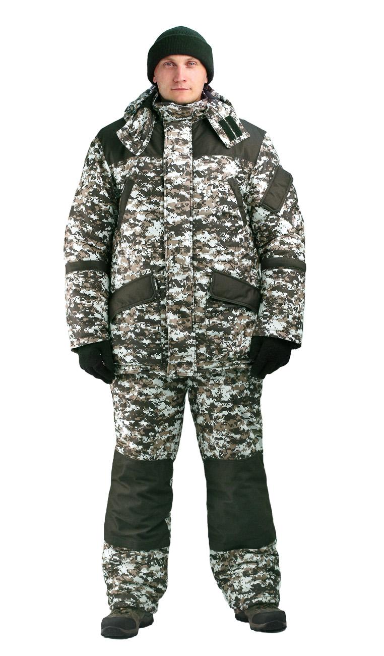 Костюм мужской «Горка-Буран» зимний кмф Костюмы утепленные<br>Камуфлированный универсальный костюм <br>для охоты, рыбалки и активного отдыха при <br>низких температурах. Не шуршит. Состоит <br>из удлинненной куртки с капюшоном и полукомбинезона. <br>• Отстегивающийся и регулируемый капюшон. <br>• Центральная застежка молния с ветрозащитной <br>планкой и контактной лентой. • Боковые <br>и нагрудные накладные карманы с клапанами. <br>• Усиление в области локтей. • Костюм оснащён <br>объёмными карманами «антивор» • Фиксированная <br>регулировка по локтевым частям рукава •Подкладка: <br>стойки воротника, капюшона, полочки , спинки, <br>подкладка нижний карманов флис 180 г/м2 • <br>Подкладка рукава: ткань подкладочная пл.190 <br>г/м2 • Внутренние трикотажные манжеты- напульсники <br>Полукомбинезон: • Закрывает грудь и спину. <br>• Застежка с двухзамковой молнией. • Боковые <br>карманы. • Бретели регулируемые. • Талия <br>регулируется резинкой • Наколенники с <br>отверстиями для амортизационных накладок. <br>• Подкладка: ткань подкладочная пл.190 г/м2 <br>Синтепон 100г/м2 - 4 слой в куртке, 3 слой в полукомбинезоне.<br><br>Пол: мужской<br>Размер: 56-58<br>Рост: 170-176<br>Сезон: зима<br>Цвет: серый<br>Материал: Алова 100% полиэстер