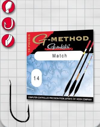 Крючок GAMAKATSU G-Method Match B №12 (10шт.)Одноподдевные<br>Крючок для ловли на матчевую снасть .<br>