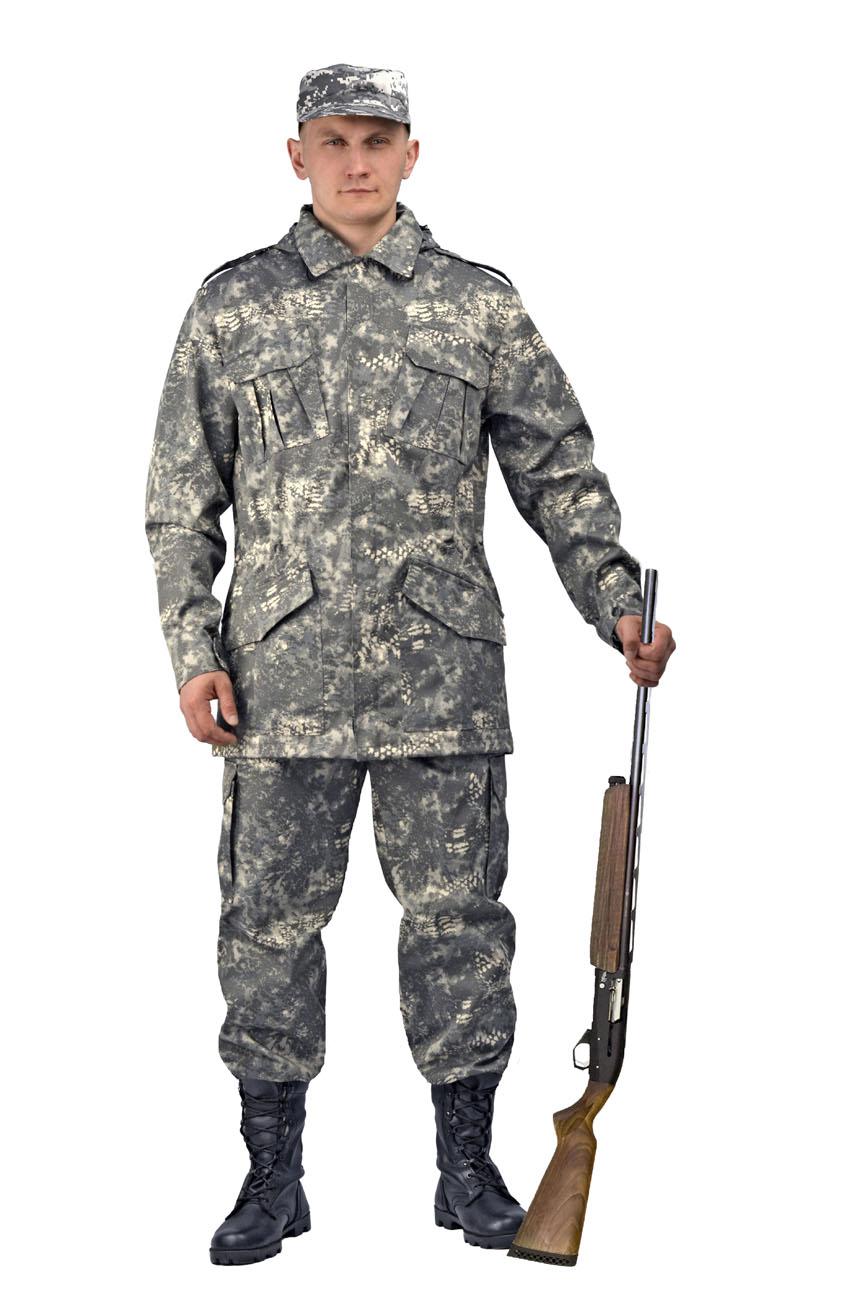 Костюм мужской Захват кмф Варан (48-50, Костюмы неутепленные<br>Универсальный летний костюм состоит из <br>удлиненной куртки с капюшоном и брюк. Куртка: <br>-съемный регулируемый капюшон. -погоны и <br>манжеты рукавов на кнопках -центральная <br>застежка молния закрывается планкой на <br>липучке. -нижние накладные карманы антивор <br>на липчке -нагрудные накладные полуобъёмные <br>карманы с клапаном на липучке. - регулировка <br>объема кулисой по линии талии и по низу. <br>Брюки: -два врезных кармана и два накладных <br>объемных кармана с клапаном на липучке. <br>-пояс со шлевками под широкий ремень -центральная <br>застежка на молнию -низ брюк регулируется<br><br>Пол: мужской<br>Размер: 48-50<br>Рост: 182-188<br>Сезон: лето<br>Цвет: серый<br>Материал: Смесовая, пл. 210 г/м2,